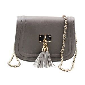 Gray fringed leather sweet little purse